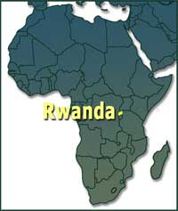 Rwanda in map of Africa