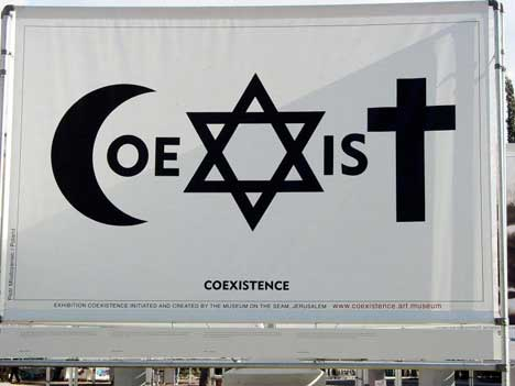 Coexist Banner in Museum on the Seam exhibition