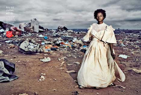 Homeless woman wears bridal gown in Salvation Army print ad