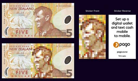Pago stickers on five dollar notes