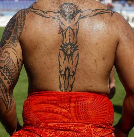 features his tattoos and faith in a slideshow on Rugby Heaven.