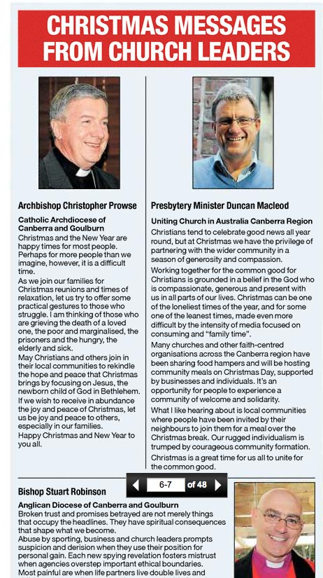 Chronicle Christmas message by Duncan Macleod, John Prowse and Stuart Robinson