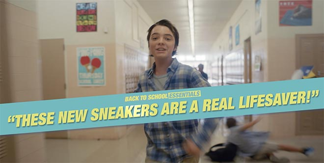 Boy runs with new sneakers in Sandy Hook Promise Back to School print ad